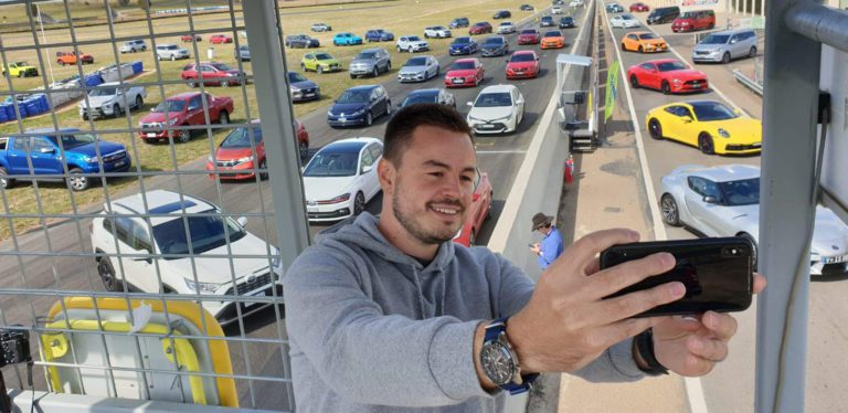 Paul Maric taking a selfie at the Drive Car of the Year testing