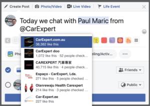 How to tag Paul Maric and CarExpert on Facebook
