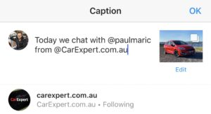 How to tag Paul Maric and CarExpert on Instagram