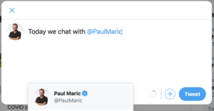 How to tag Paul Maric on Twitter