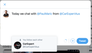 How to tag Paul Maric and CarExpert on Twitter